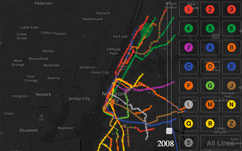 Map of the subway highlighting the different lines going through Manhattan and parts of Brooklyn.