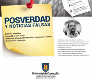 Screenshot of Posverdad y noticias falsas talk by Miguel Paz