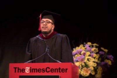 Student Speaker Gustavo Martinez Contreras at the December 2016  commencement ceremony.