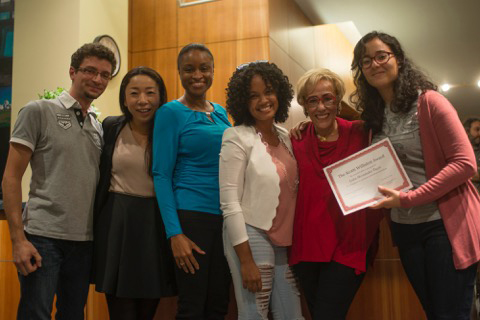 The Class of 2007's Sebastian Bednarski, Chika Osaka, Angela Hill and Marlene Peralta present the first Scotti Williston Award ($500) to Lidia HernándezTapia, '17, at Williston's September 2016 retirement party.