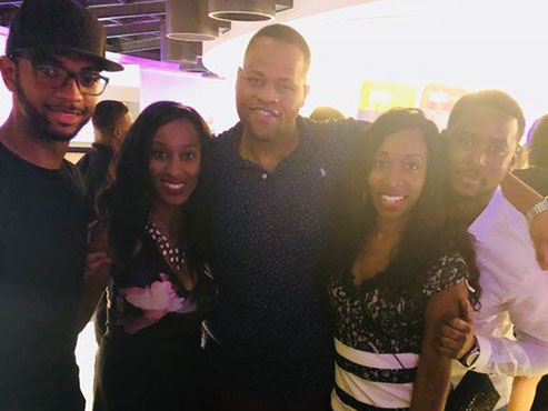 J-School alums Khorri Atkinson, '16; Melissa Noel, '12; Walter Smith-Randolph, '10; Kizzy Cox, '12; and Brandon Nix, '16, reunited at NABJ 2018 Detroit.