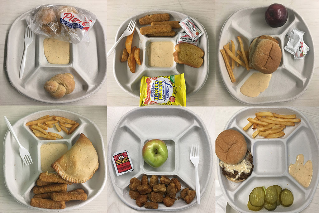 This picture shows a grid of six different school cafeteria lunch trays. The food in the different trays includes, fries, empanadas, apples, bread, etc.