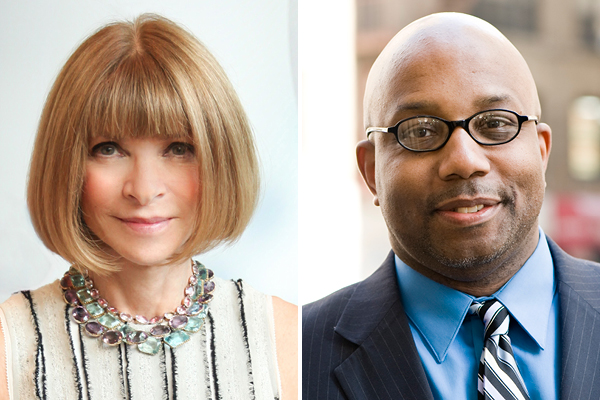 Anna Wintour (left) and Errol Louis (right)