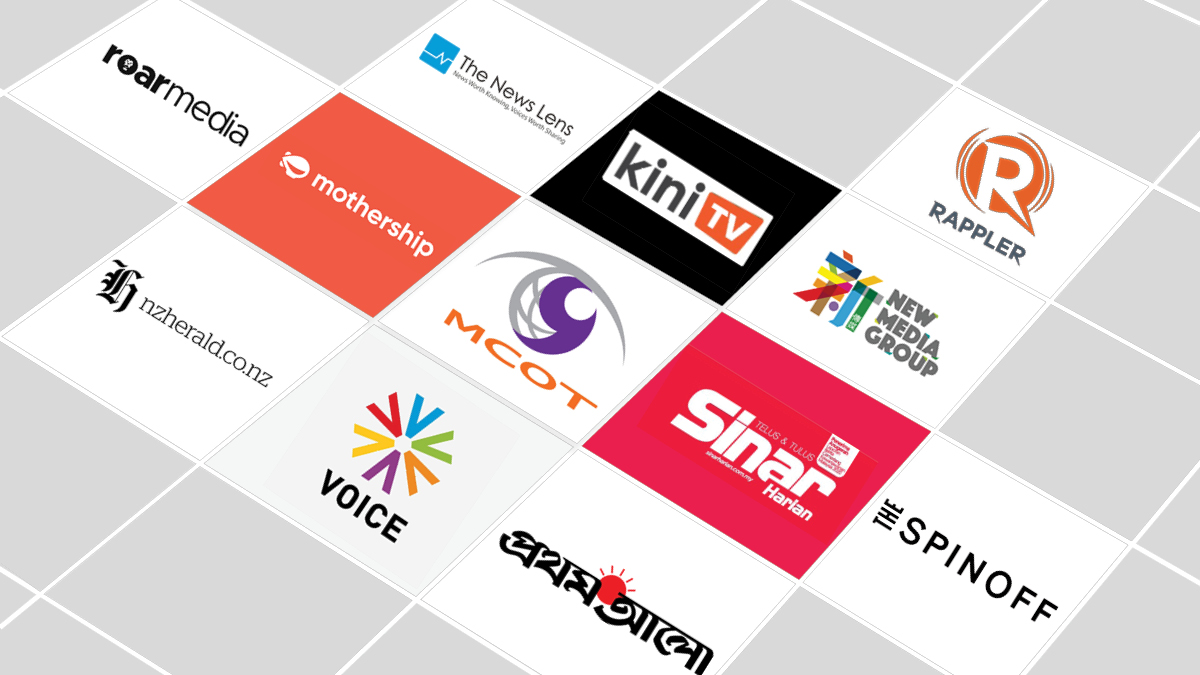 Logos of the media participants of the Video Business Accelerator program.