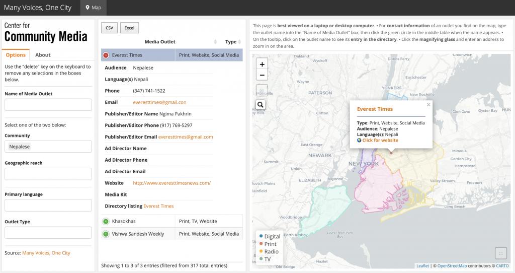 NYC community media map dashboard screenshot